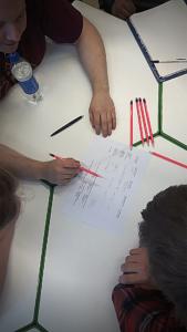 Ylhäältä päin kuvattuna kolme ihmistä pöydän ääressä suunnittelemassa jotain paperille.